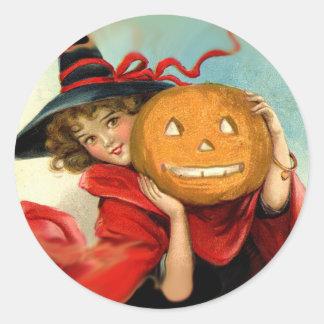 Vintage Art Witch and Pumpkin - Halloween gifts Classic Round Sticker