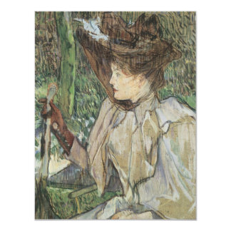 Vintage Art, Woman with Gloves by Toulouse Lautrec 11 Cm X 14 Cm Invitation Card