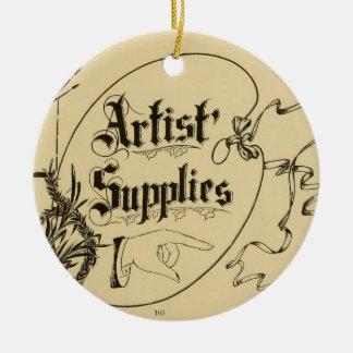 Vintage Artist Supplies Logo Round Ceramic Decoration