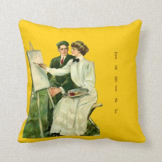 Vintage Artsy Couple Throw Pillow & Name