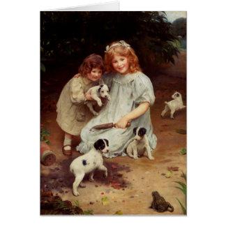 Vintage Artwork - Puppies and a Bullfrog, Card