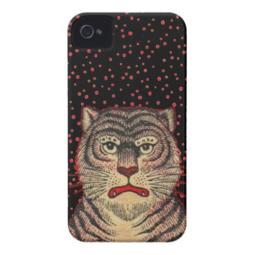 Vintage Asian Striped Fierce Tiger iPhone 4 Case-Mate Cases
