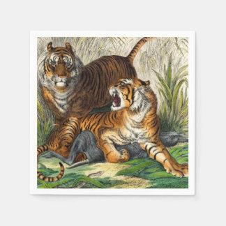 Vintage Asian Striped Fierce Tiger Paper Napkins