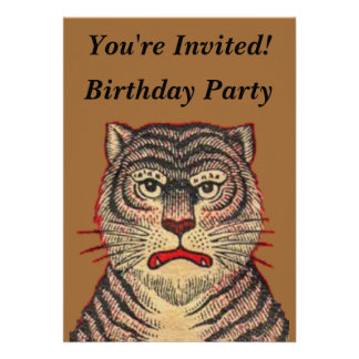 Vintage Asian Tiger Birthday Announcements
