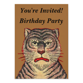 Vintage Asian Tiger Birthday 13 Cm X 18 Cm Invitation Card