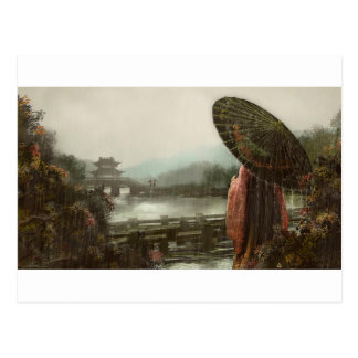 Vintage Asian Woman in Traditional Attire Postcard