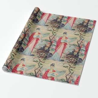 Vintage Asian Woman PBN Wrapping Paper