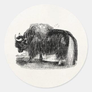 Vintage Asian Yak Retro Yaks Animal Illustration Round Sticker