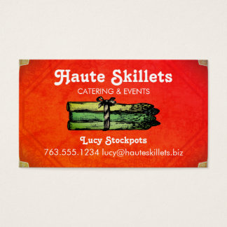 Vintage asparagus  chef catering business cards