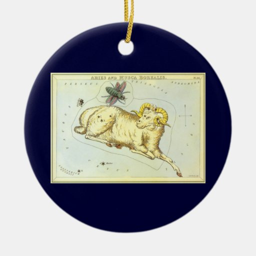 Vintage Astrology Aries Ram Constellation Zodiac Christmas Ornaments