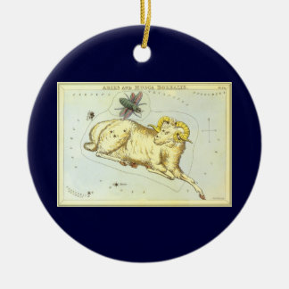 Vintage Astrology Aries Ram Constellation Zodiac Christmas Ornament