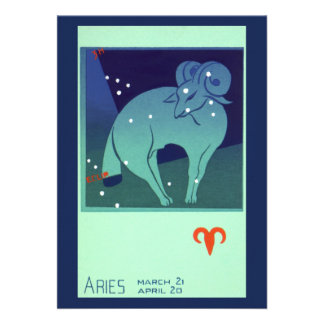 Vintage Astrology Aries Ram Constellation Zodiac Personalized Announcement