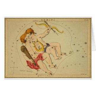 Vintage Astrology / Astronomy Gemini constellation Greeting Card