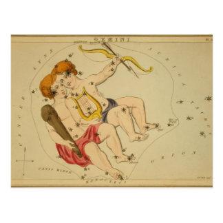 Vintage Astrology / Astronomy Gemini constellation Postcard