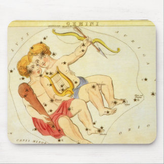 Vintage Astrology Gemini Twin Constellation Zodiac Mousepads