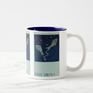 Vintage Astrology Pisces Fish Constellation Zodiac Mugs