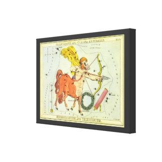Vintage Astrology Sagittarius Constellation Zodiac Stretched Canvas Print