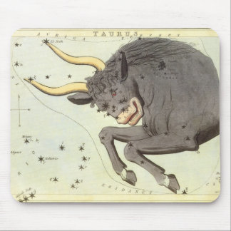 Vintage Astrology Taurus Bull Constellation Zodiac Mousepads
