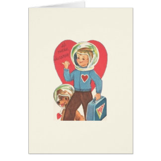 Vintage Astronaut and Puppy Valentine Card