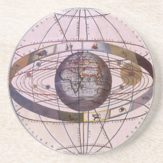 Vintage Astronomy Antique Ptolemaic Solar System Beverage Coasters