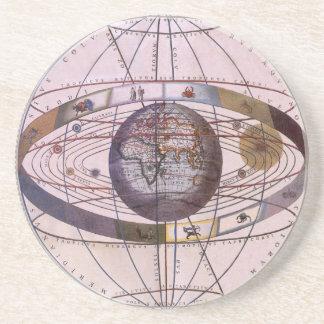 Vintage Astronomy Antique Ptolemaic Solar System Beverage Coasters