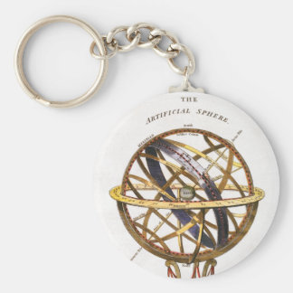Vintage Astronomy, Artificial Sphere, Earth, Globe Key Ring