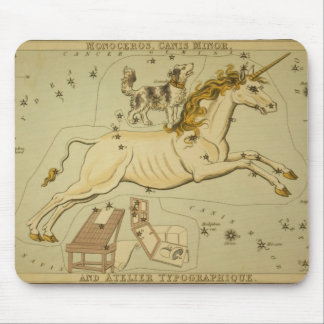 Vintage astronomy astrology Monoceros unicorn Mousepads