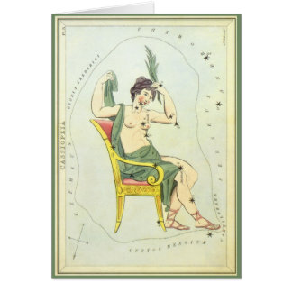 Vintage Astronomy, Cassiopeia Constellation Stars Greeting Card