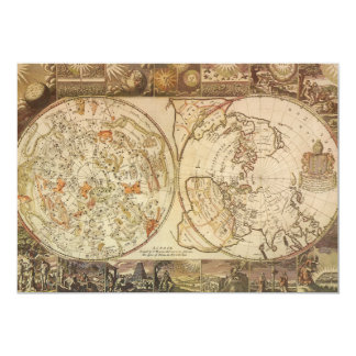 Vintage Astronomy, Celestial Planisphere Map Invitation