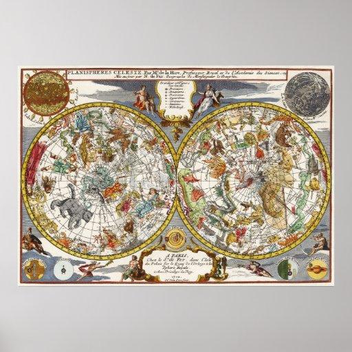 Vintage Astronomy, Celestial Planisphere Map Poster