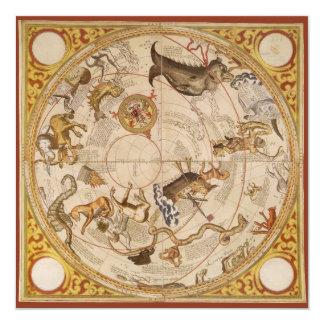 Vintage Astronomy, Celestial Star Planisphere Map Invite