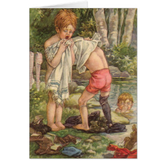 Vintage - At the Swimming Hole, Card