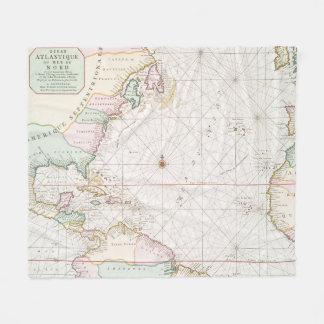 Vintage Atlantic Ocean & North America Map (1700s) Fleece Blanket