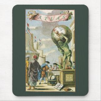 Vintage Atlas Frontispiece, World Globe Mousepads
