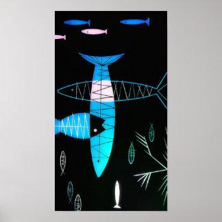 Vintage Atomic Fish Poster