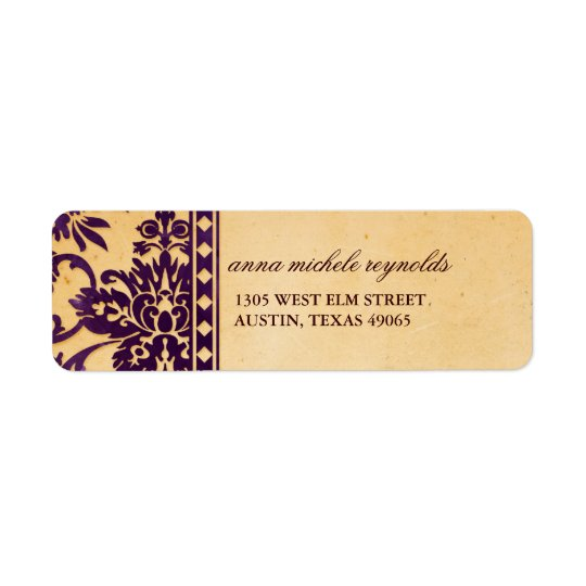 Vintage Aubergine Damask Lace Fancy Return Address Label