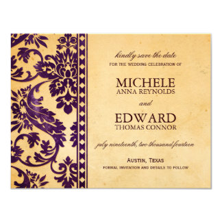 Vintage Aubergine Damask Lace Save the Date Invites