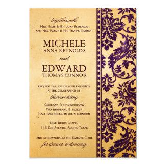 Vintage Aubergine Damask Lace Wedding 13 Cm X 18 Cm Invitation Card