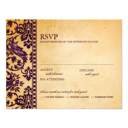 Vintage Aubergine Damask Lace Wedding RSVP Announcements