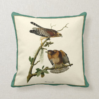 Vintage Audubon Red-shouldered Hawk Pair Pillow