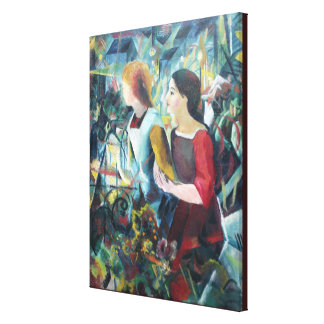 Vintage August Mache Two Girls Canvas Print
