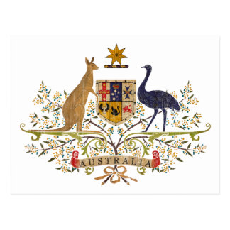 Vintage Australia Coat Of Arms Postcard