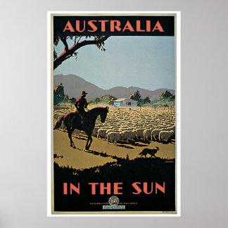 Vintage Australia in the Sun Travel Poster