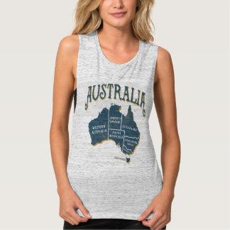 Vintage Australia States Map Singlet