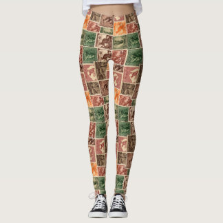 Vintage Australian Postage Stamps Collection Leggings
