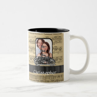 Vintage auto and music sheet coffee mug