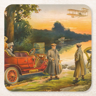 Vintage auto and plane paper coasters