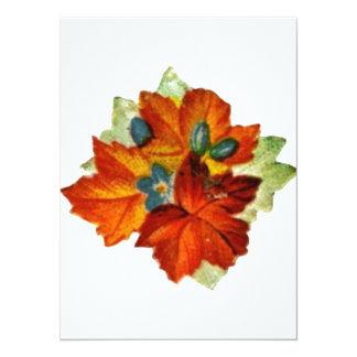 Vintage Autumn Leaves Fall Leaf Custom Invitation
