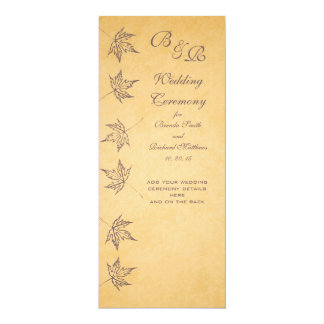 VINTAGE AUTUMN LEAVES WEDDING PROGRAM