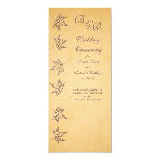 VINTAGE AUTUMN LEAVES WEDDING PROGRAM 10 CM X 24 CM INVITATION CARD